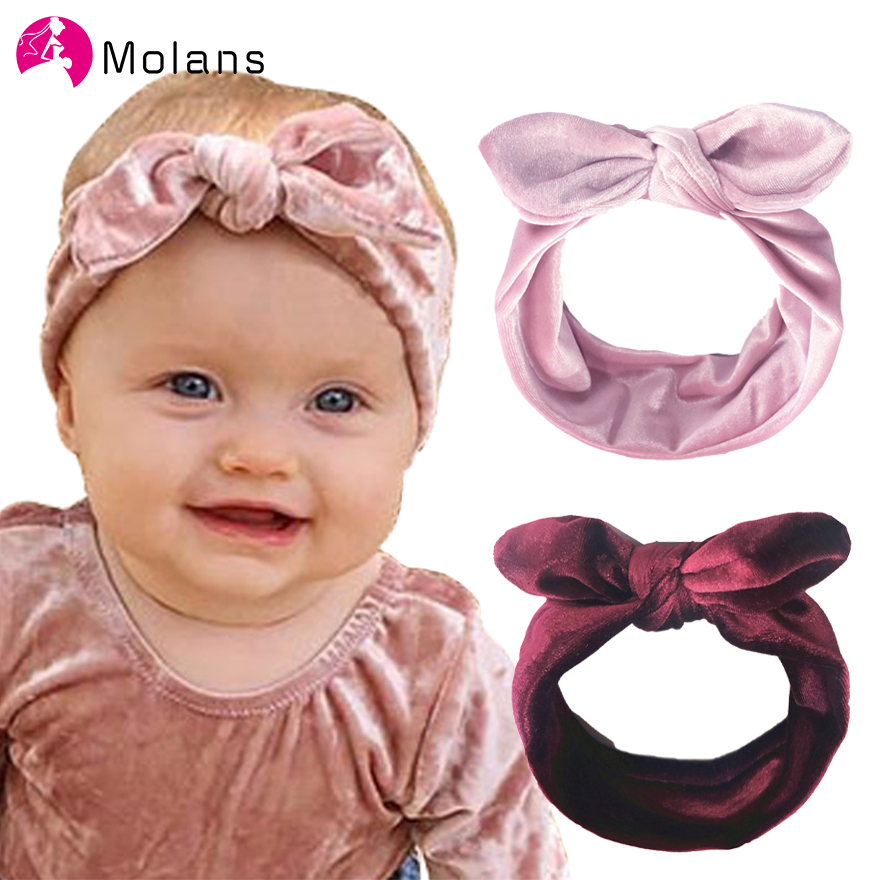 Molans New Children's Velvet Bow Headbands Solid Ear Warmer Winter Headwear Hairbands Baby Bunny Ears Elastic Hair Accessories