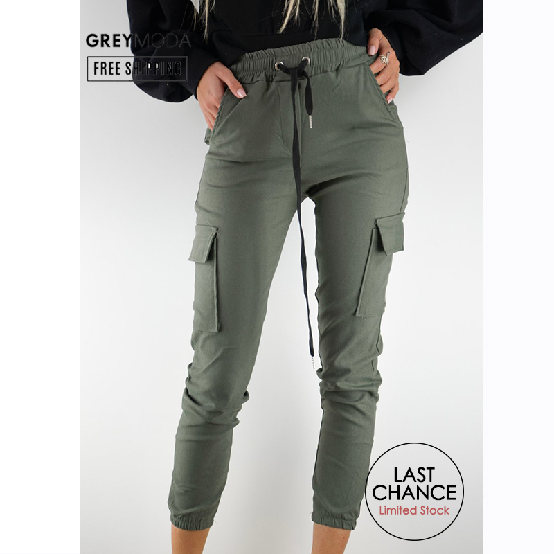 GREYMODA Womens Cargo Pants Joggers Black Cargo Pants White Cargo Pants High Waist Pants Plus Size Streetwear Women Clothes