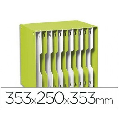 FILING CABINET MODULATE CEP POLYSTYRENE GREEN/WHITE 12 CASILLAS 353X250X353 MM