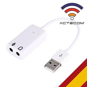 ACTECOM Tarjeta de sonido 7.1 USB 2.0 Mini Jack 3,5 mm Blanca...