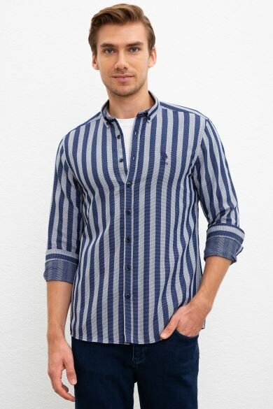 U.S. POLO ASSN. Navy Blue Striped Shirt Slim