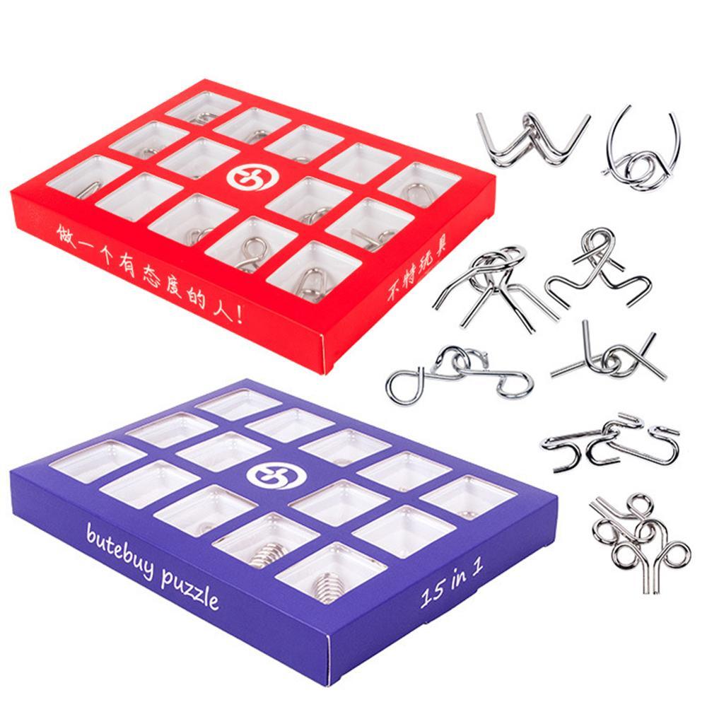 15 pçs/set 3D Metal Puzzle Crianças Montessori Materiais de Aprendizagem Educação Brinquedo Mente Cérebro Teaser IQ Quebra-cabeças para Adultos Presente Das Crianças
