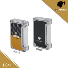 Cohiba 2 color Windproof  3 Torch Jet Flame Butane Gas Durable Cigarette Cigar Lighter Zinc Alloy Refillable with 2 punch NO Gas multifunction zinc alloy butane gas screwdriver lighter red yellow