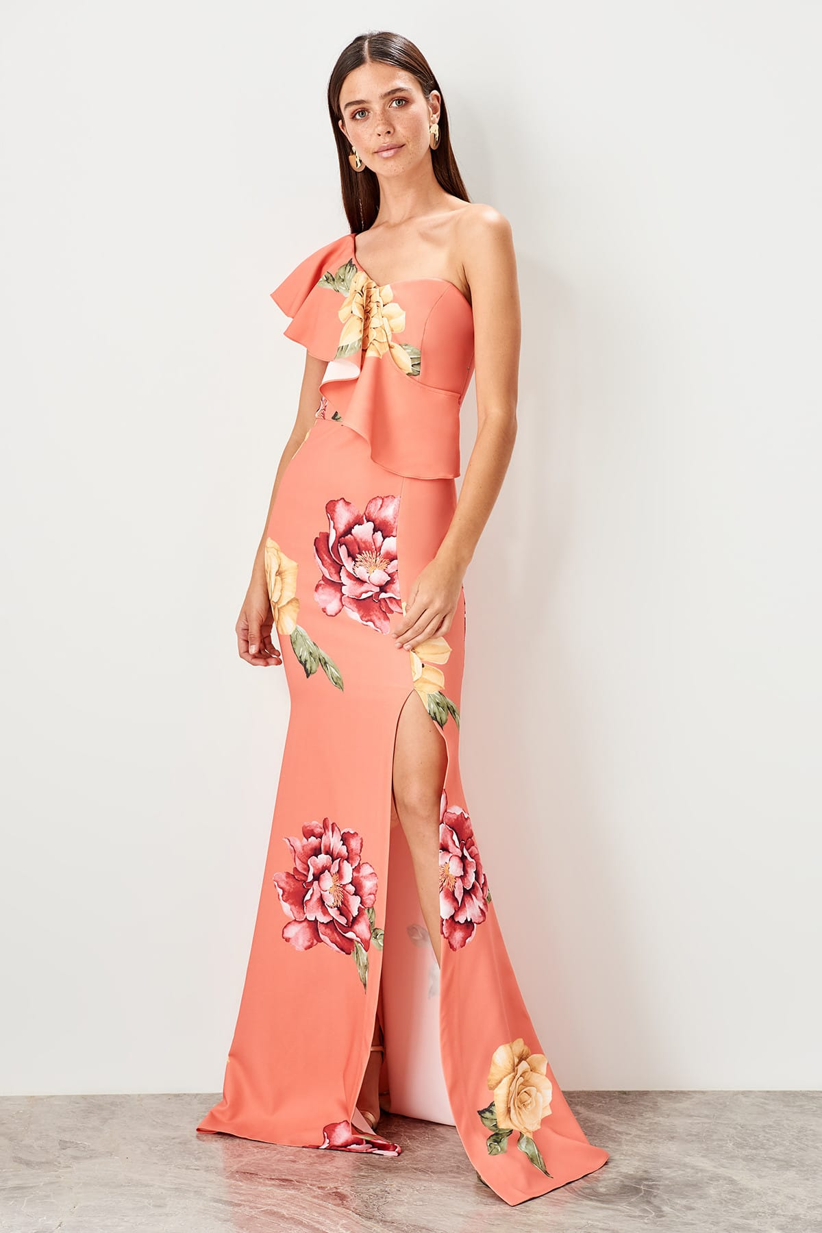 Trendyol Flower Pattern Evening Dress TPRSS19AE0063