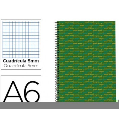 SPIRAL NOTEBOOK LIDERPAPEL A6 MICRO MULTILIDER LINED CAP 140H 70G TABLE 5MM 5 BANDS GREEN 3 Units