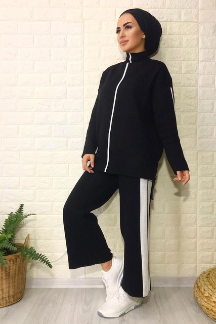 2 Pieces Knitwear Stripe Detailed Women's Double Set Pullover and Pants  5
