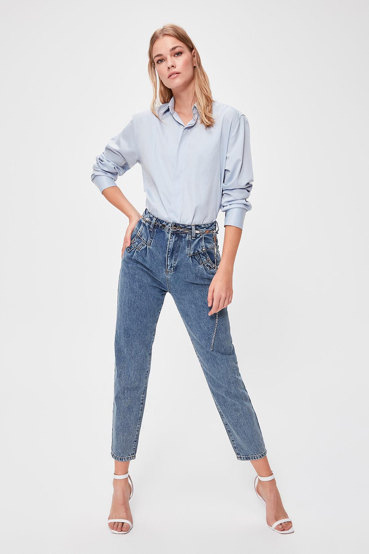 Trendyol Pleated High Waist Mom Jeans TWOAW20JE0244