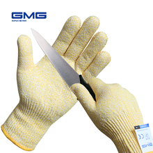 Anti Cut Proof Gloves GMG Yellow HPPE EN388 Anti-cut Level 5 Safety Work Gloves For Kitchen Cut Resistant Gloves