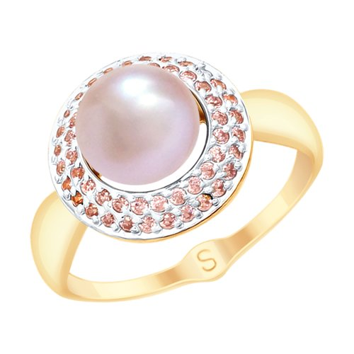 Ring. Gold Pink Pearl And Cubic Zirkonia