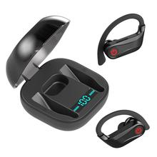 Black PowerHBQ pro Q62 wireless earphone Bluetooth 5.0 Stereo Sport Headsets Waterproof ear hook Heatsets  with Dual Microphone