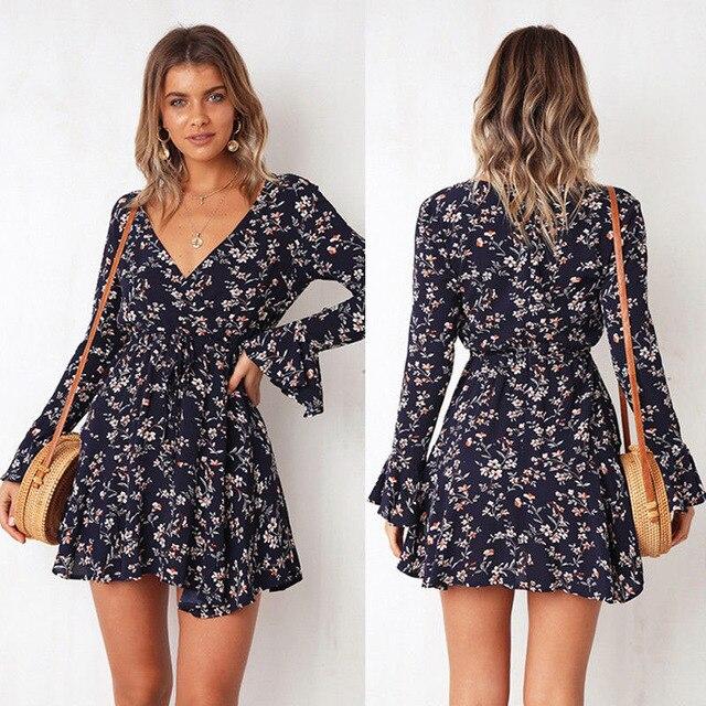 short print ruffled mini dress 5