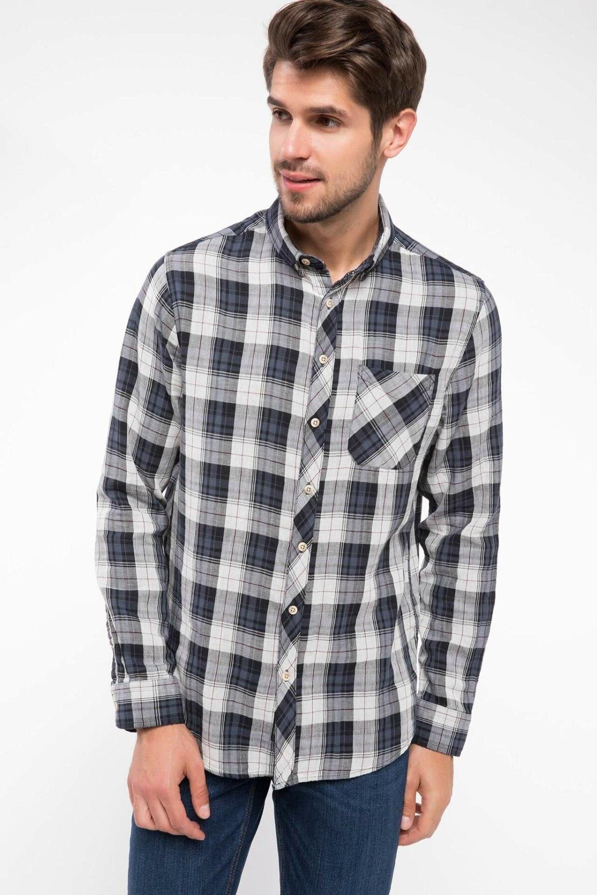 DeFacto Man Cotton Top Shirts Men Plaids Autumn Long Sleeve Shirt Male Turn-down Collar Tops Shirts Best Selling-I9203AZ18AU