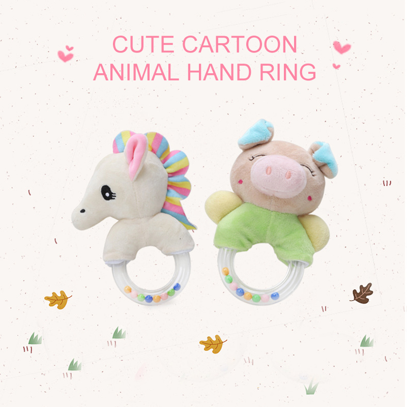 Cute Baby Rattle Toys Plush Baby Cartoon Bed Toys  Soft Hand Bells Musical Toys  0-24 Months Newborn Baby Educational Toy New