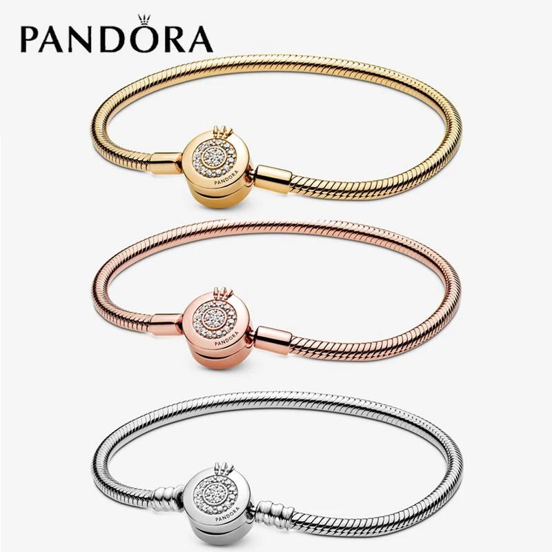 Pandora-pulsera de cadena de hueso de serpiente para mujer, abalorio de  plata 925, corona, caja gratis