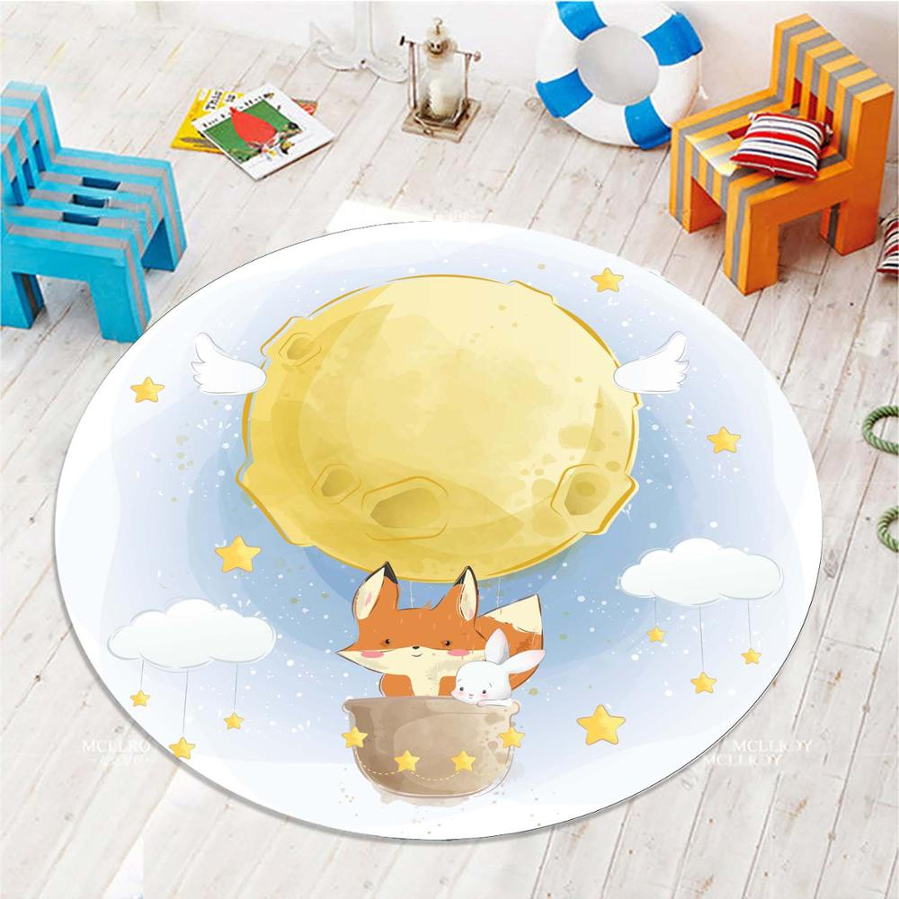 Else Yellow Air Ballon Fox Animals 3d Pattern Print Anti Slip Back Round Carpets Area Round Rug For Kids Baby Children Room