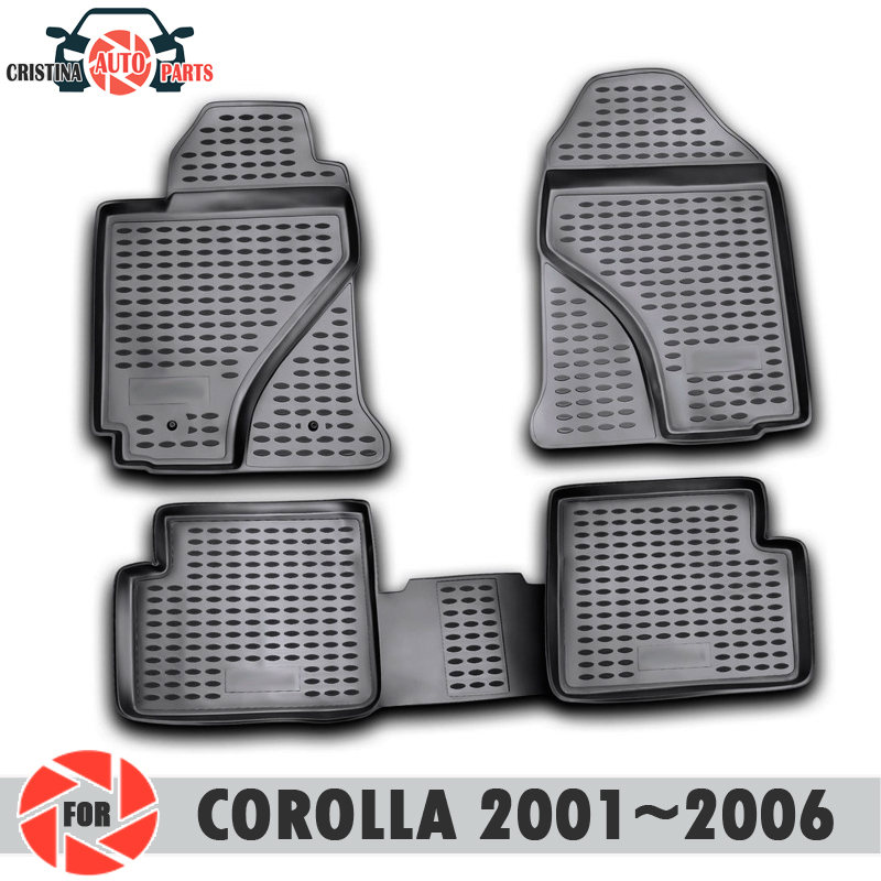 Floor mats for Toyota Corolla 2001~2006 rugs non slip polyurethane dirt protection interior car styling accessories image