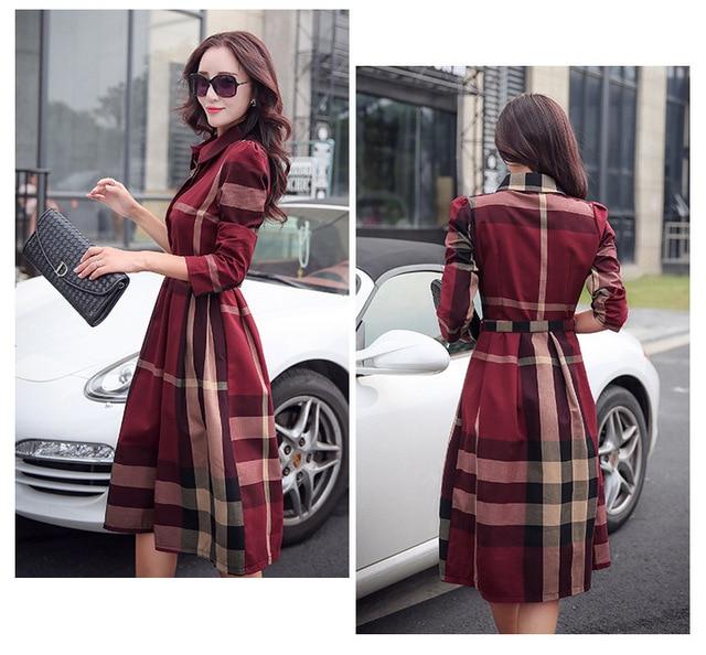 Women Fashion Elegant A-Line Dresses Female Full Sleeve Street Sweet Midi Dress Vestidos 4