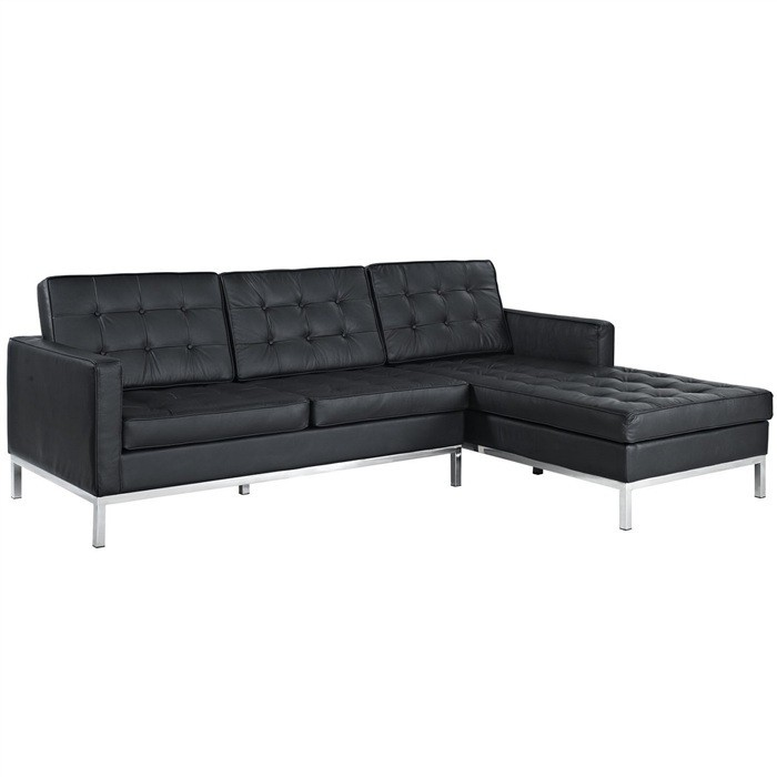 FLOWER Sofa With Cheslong To Left, Similpiel Black