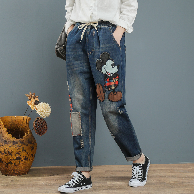 2020 Mum Jeans Mujer Women Boyfriend Jeans For Woman Mom Jeans Harem Cartoon Print Pants Denim Plus SizeJeans Mujer Jean Femme