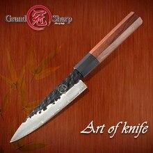 수제 사소한 칼 145 MM 일본 AUS 10 3 레이어 스테인레스 스틸 미니 요리사 주방 홈 요리 도구 식칼 슬라이스 과일