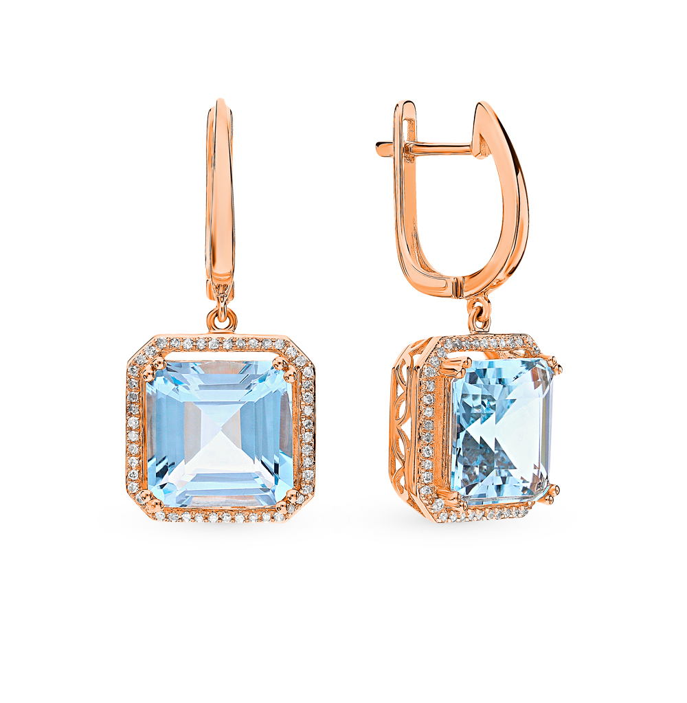 Gold Earrings With Topaz And Diamonds Sunlight Sample 585
