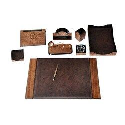Luxury Wooden Charisma Desk Set 9 Pieces Desk Organizer Office Accessories 100 Handmade High Quality Leather Desk Organizer