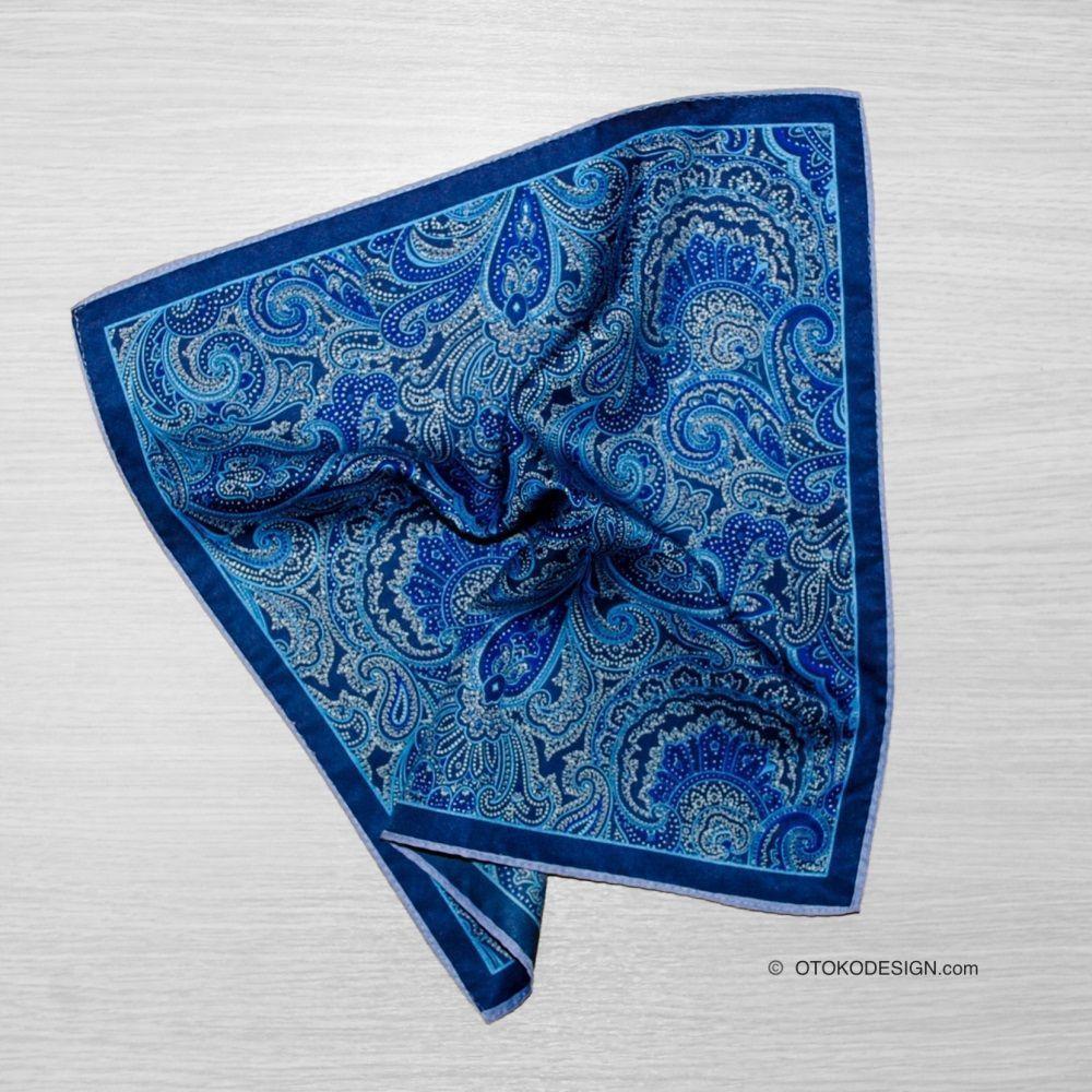 Silk Blazer Pocket Square Blue Cucumber Print (51837)