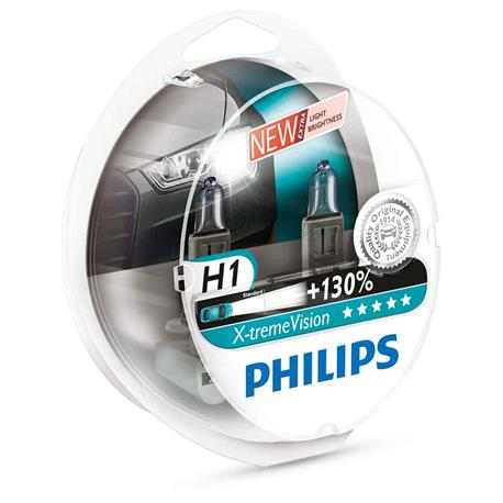 12258XVS2-Blister 2 Philips Halogen X-TREME H1 12V 55W + 130% DUO