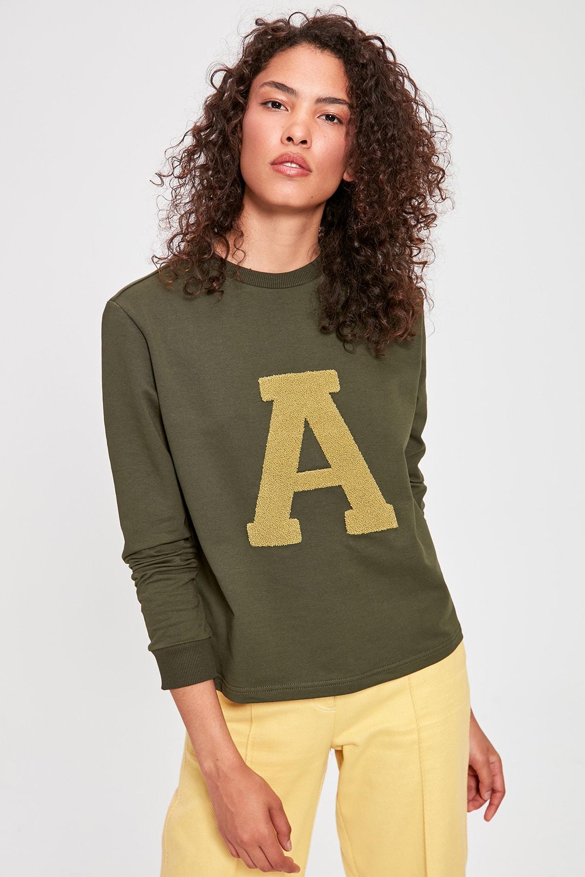Trendyol Khaki Letter Embroidered Basic Knitted Sweatshirt TWOAW20SW0306