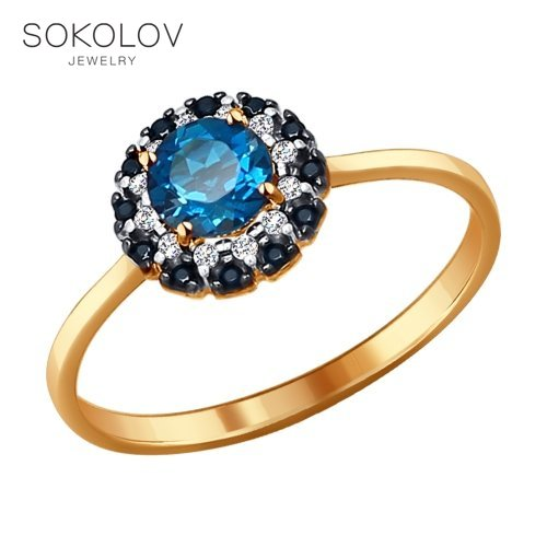 SOKOLOV Ring Gold With Topaz, Cubic Zirconia And Black Cubic Zirkonia Fashion Jewelry 585 Women's Male