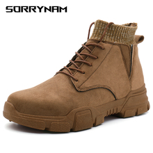 цены Ankle Boots Men Winter Work Shoes Men Snow Boots for Men Cow Leather Botas Outdoor Male Lace Up Anti-slip Booties Desert Boots
