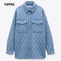 Toppies-Parka vaquera Vintage para mujer, abrigo con bolsillos delanteros, Chaqueta de algodón holgada, prendas de vestir, color azul, otoño, 2021