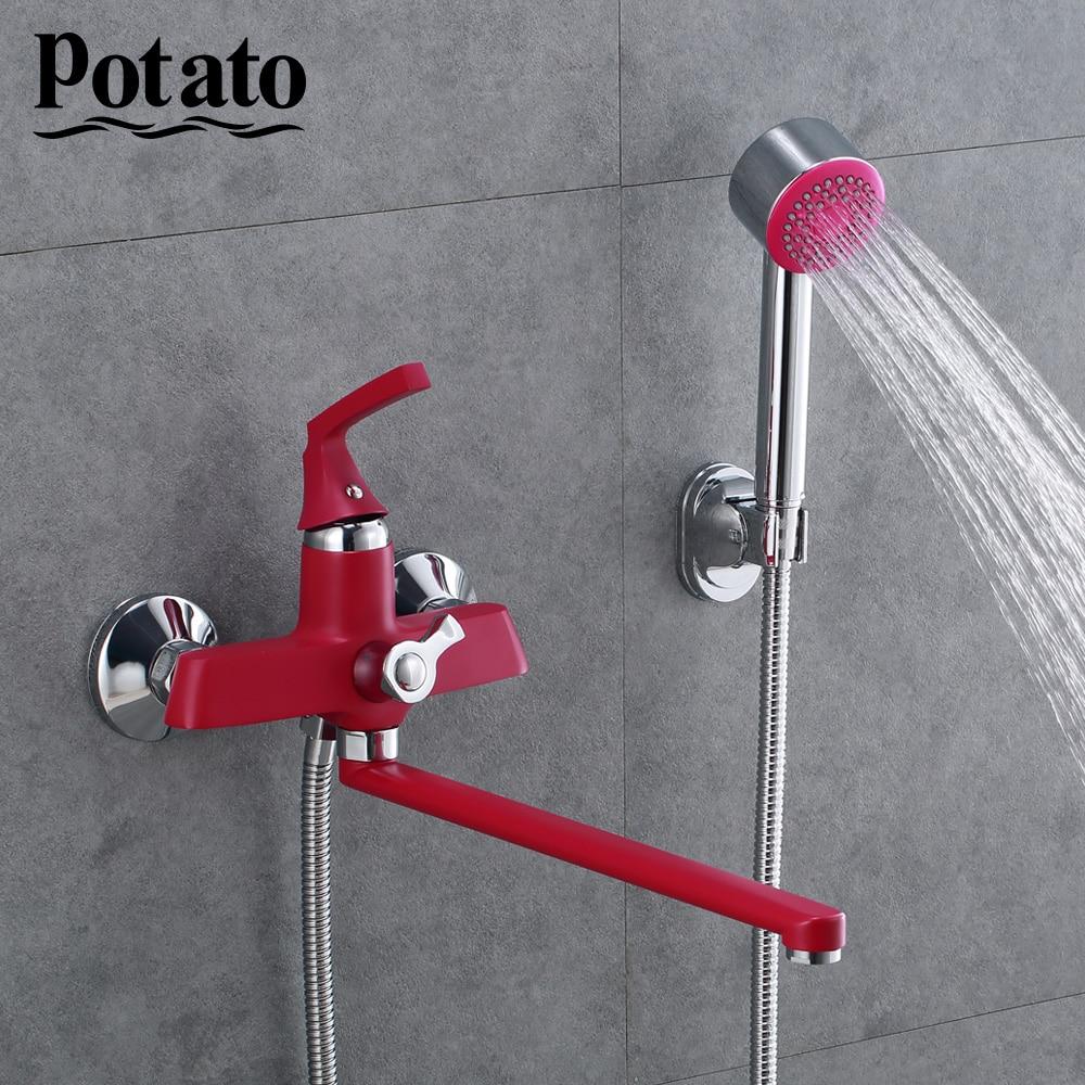 Potato 350 мм выпускная труба для ванной смеситель для душа с латунным корпусом Ретро Красный спрей Окрашенные поверхности p22229 16|Смесители для душа|   | АлиЭкспресс