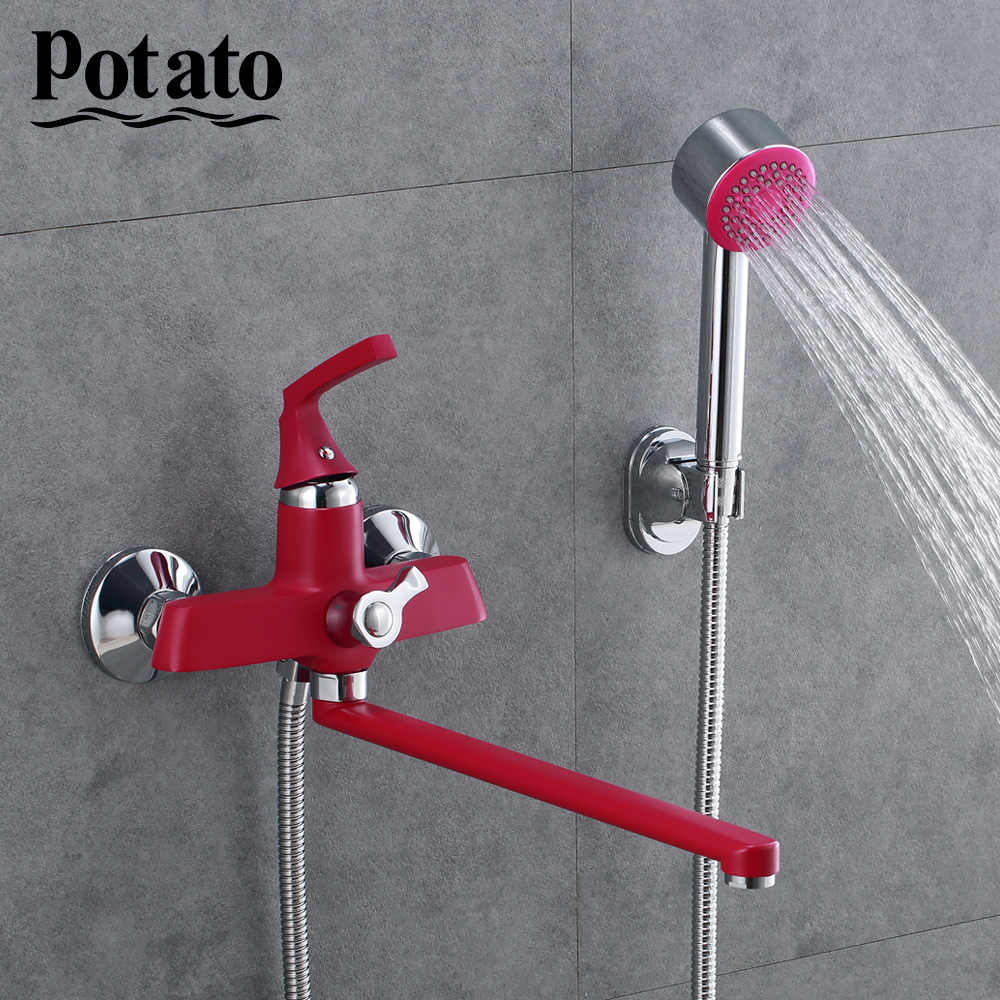 Potato 350mm Outlet Rohr Bad Dusche Wasserhahn Mit Messing Körper Retro Rot Spray Gemalt Oberfläche P22229 16 Dusch Armaturen Aliexpress