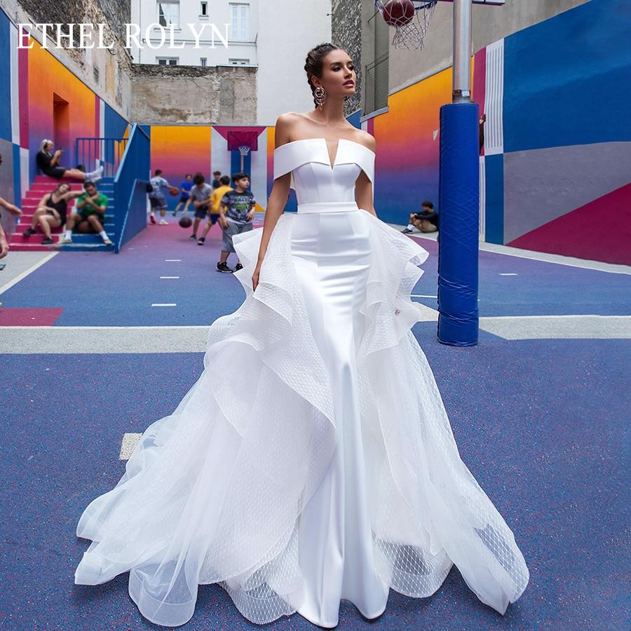 ETHEL ROLYN Sexy Boat Neck Romantic Mermaid Wedding Dresses With Sleeves Detachable Train Vintage Wedding Gowns Vestido De Novia