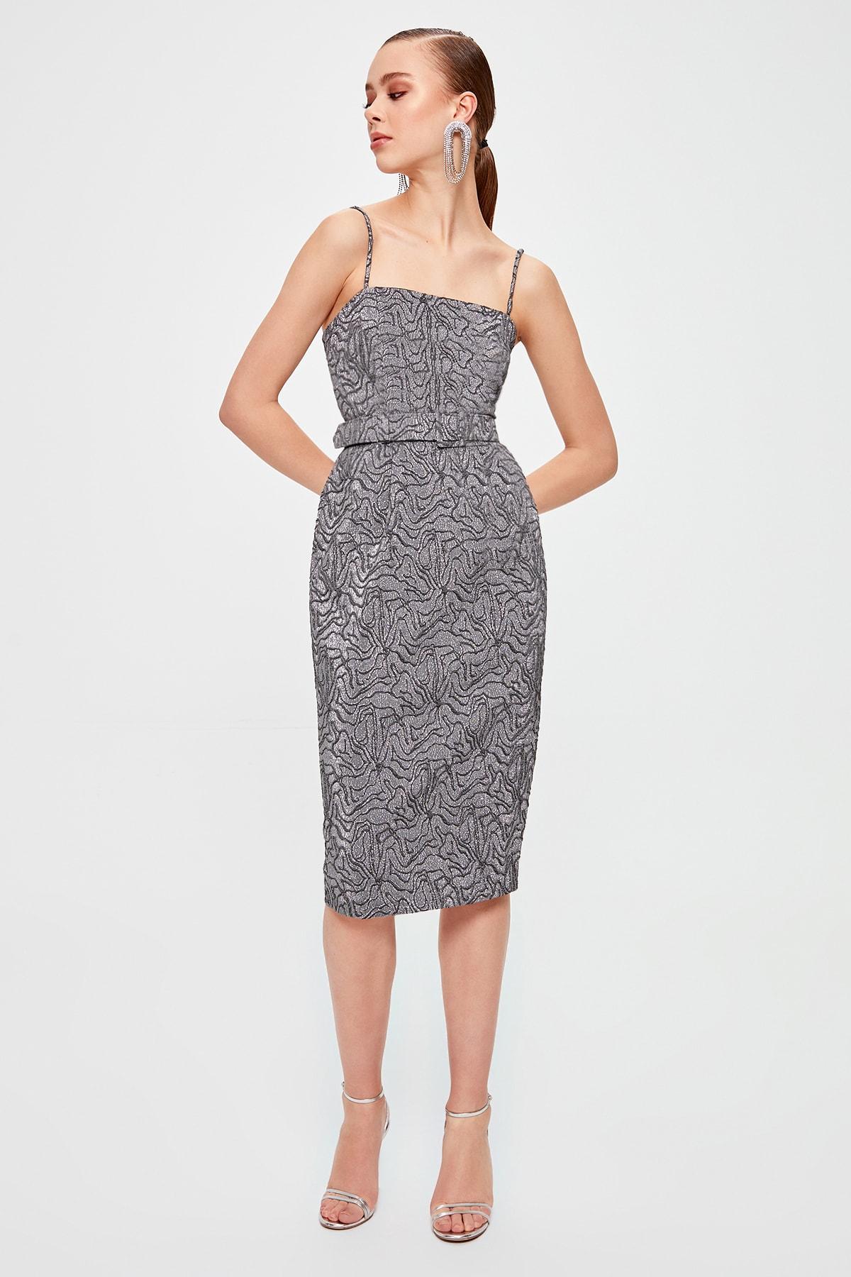 Trendyol Jacquard Patterned Dress TPRSS20EL0051