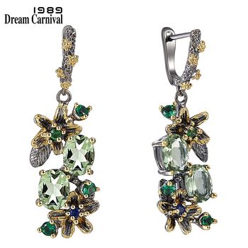 DreamCarnival 1989 New Arrrived Antique Earrings for Women Vintage Flower Style Two Tones Green Zircon Jewelry Drop Ships WE3874