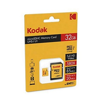Micro SD Memory Card with Adaptor Kodak UHS-I U1 Yellow