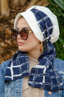 White navy blue scarf