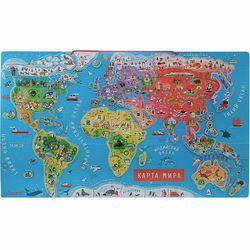 Карта мира с магнитными пазлами, 92 эл., рус. язык
