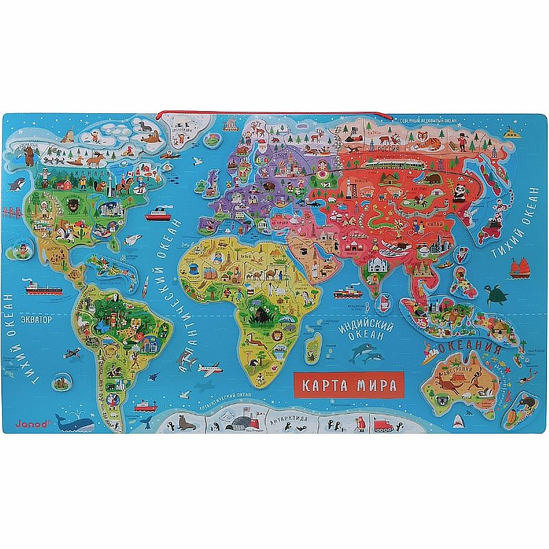 World Map Magnetic пазлами, 92 El., Rus. Language