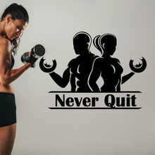 Guy And Lady Never Quit Wall Sticker Decal Gym Fitness Sticker Gym Wall Decoration A00421 printio i wanna quit the gym