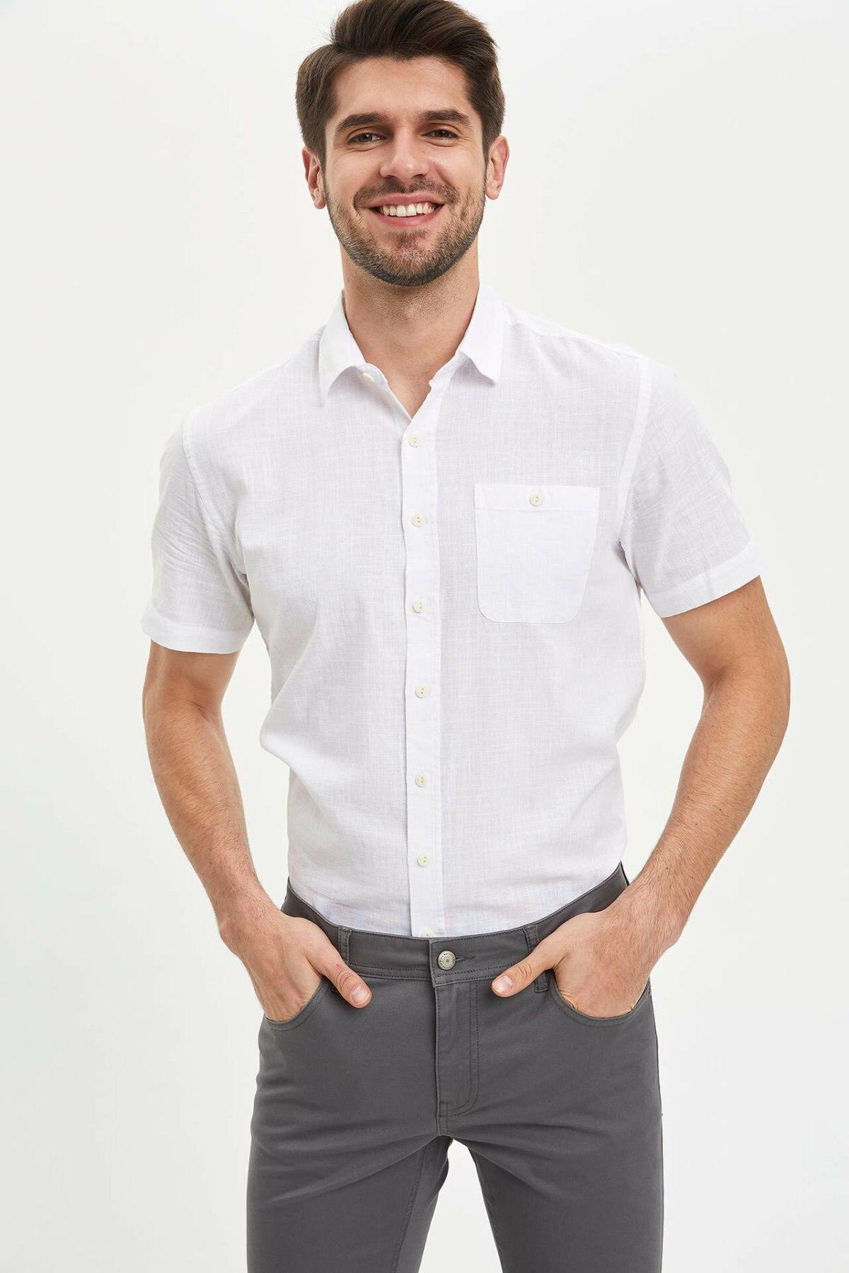 DeFacto Man Short Sleeve Shirt Men Summer Smart Casual Shirts Men Office Tops Shirts Male Business Shirts-M9432AZ20SM