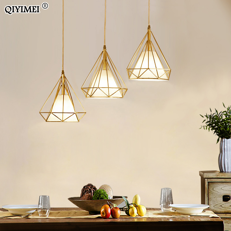 Gold Color Pendant Lights Triangle Shape Nordic Style 1head/3heads  Hanging Lamp Simple Metal Lights Fixtures Deco Abajur
