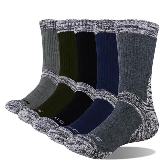 YUEDGE Mens Wick Thick Cushion Cotton Crew Sports Athletic Hiking Socks Winter Warm Socks For Men(5 Pair/Packs)