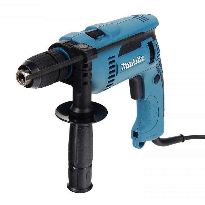 Makita impact drill HP1641F (power 680 W reverse, keyless chuck drilling in wood 30mm)