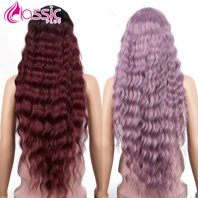 Wigs For Black Women Black Cosplay Synthetic Wigs 30 Inch Long Loose Wave Ombre Purple Burgundy Heat Resistant Classic Plus Hair
