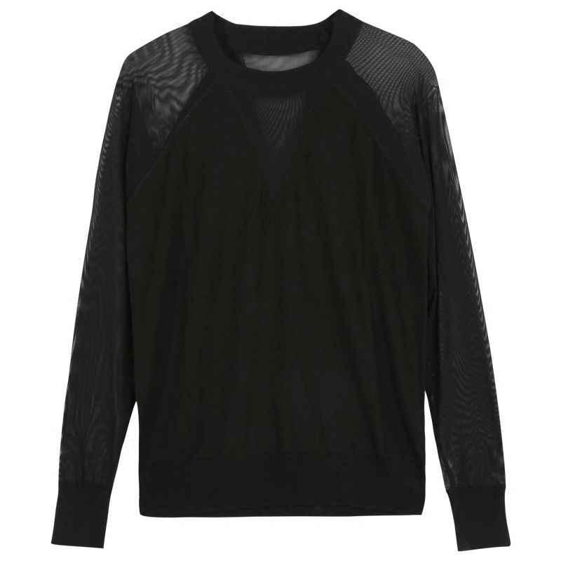 2019 primavera e no outono nova irmã gorda fio líquido preto manga longa camiseta sexy fino tricô bottoming shirtut011