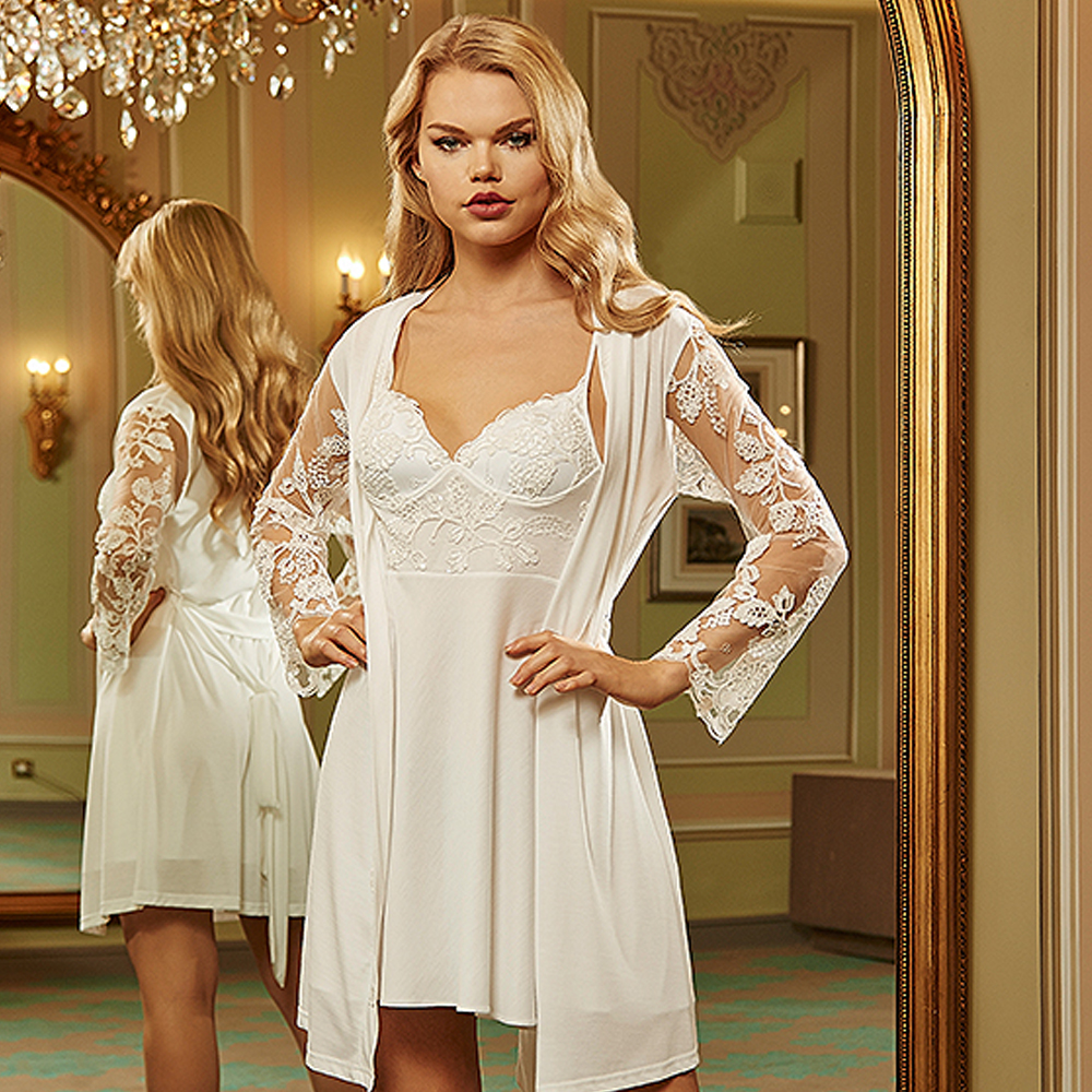 Barina Women's 638 Cotton Combed Lace Short Length Cool Cozy Flexible Home Wearable 6 Piece Nightgown Dressing Gown and Pajamas