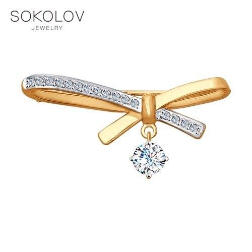 Brooch SOKOLOV Gold With Cubic Zirconia Fashion Jewelry 585 Women's Male